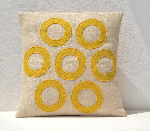 Handmade burlap yellow throw pillow cover with geometric pattern