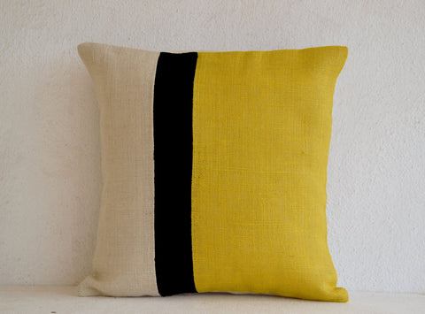 Handmade burlap yellow throw pillow