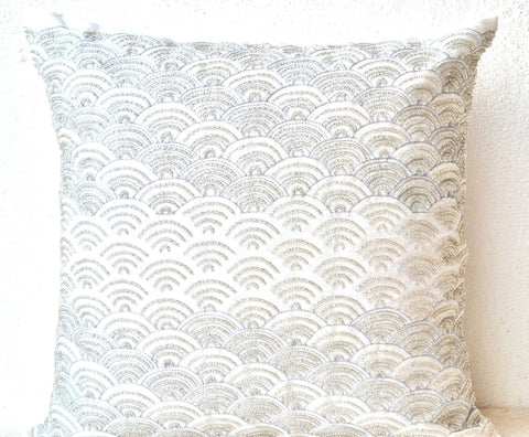 Handmade ivory white throw pillows with embroidered waves