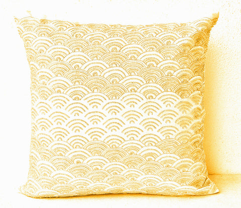 Handmade cream silk throw pillows with gold beads