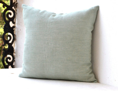 Handmade light green throw pillow in linen