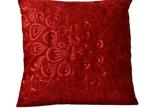 Handmade silk throw pillow cover with red sequin
