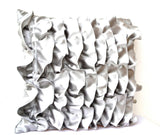Handmade silver gray pillow cover case with ruffles