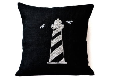 Handmade black lighthouse pillow with beads