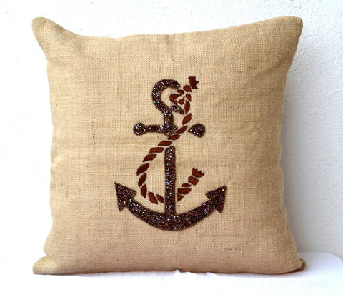 Handmade burlap throw pillow with anchor sequin
