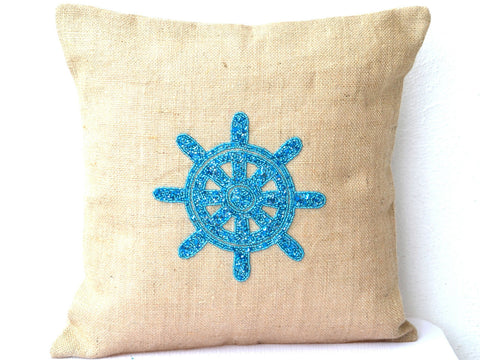 Handmade natural burlap nautical wheel throw pillow