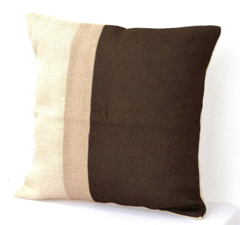 Handmade burlap pillows in neutral earthen hues