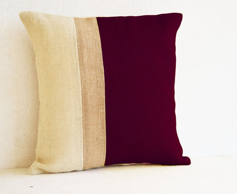 Handmade burlap burgundy pillow cover with color block