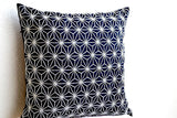 Handmade navy blue throw pillow with silver embroidered hemp leaf