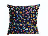 Handmade navy blue throw pillow with beads in multiple colors