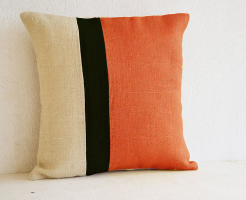 Handmade burlap orange throw pillow cover