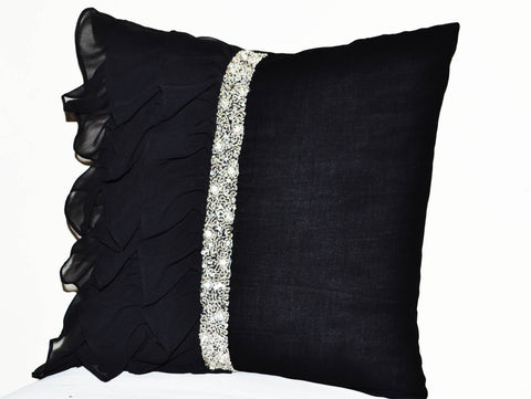 Handmade black throw pillow with crystal sequin