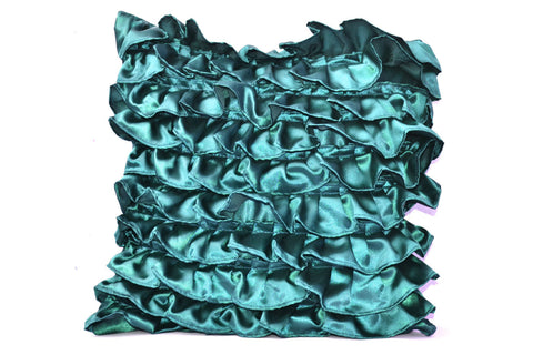 Handmade teal satin throw pillow with ruffles