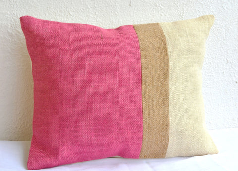 Handmade pink throw pillow with color block