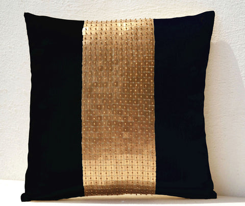 Handmade black gold throw pillow with sequin and beads