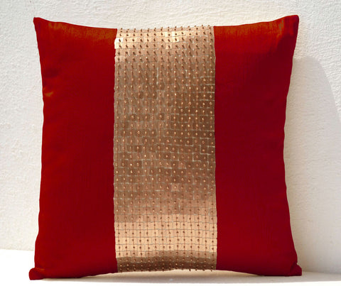 Handmade red throw pillow with silk gold color block and sequin