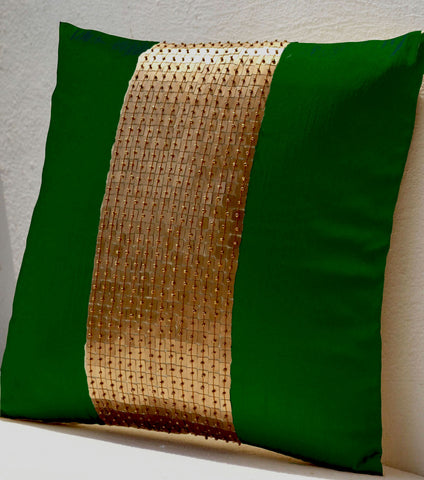 Handmade emerald green throw pillow with gold color, silk sequin and beads