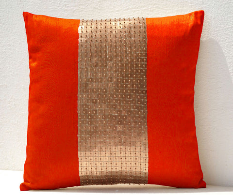 Handmade orange gold throw pillow with sequin
