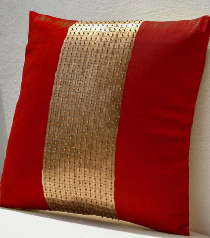 Buy handmade red throw pillow with silk gold color block and