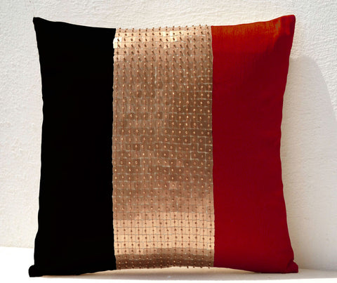 Handmade throw pillows with red black gold color block