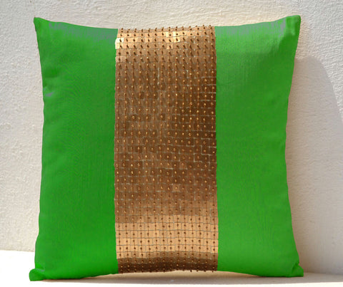 Handmade neon green throw pillow with color block and sequin