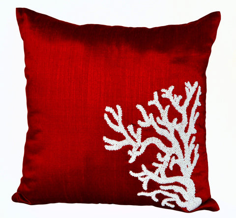 Handmade red silk pillow with white coral design