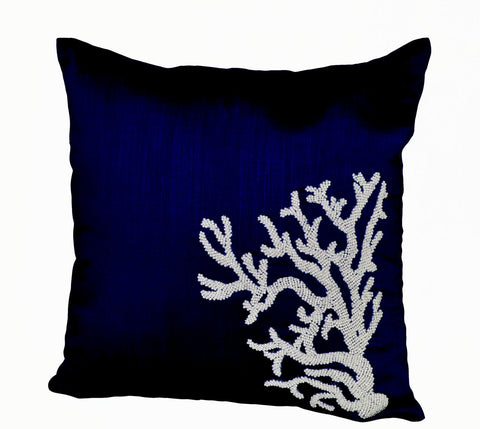 Handmade navy blue silk throw pillow with embroidery