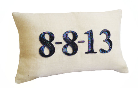 Handmade burlap ivory date pillows