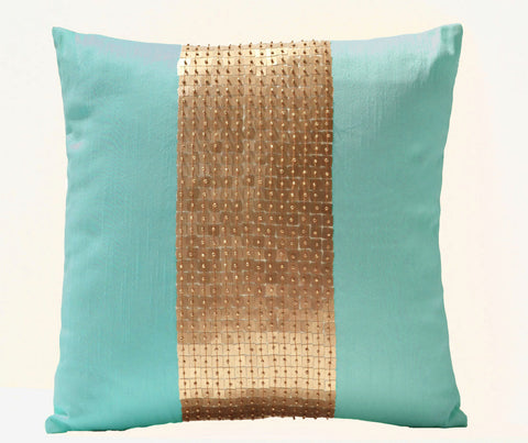 Handmade teal gold silk pillows with sequin