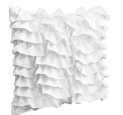 Handmade white satin pillow cover with ruffles