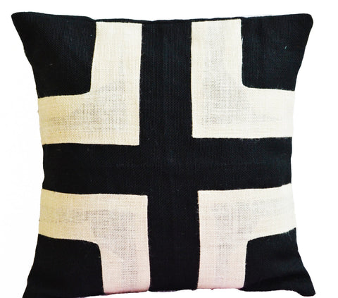 Handmade black ivory pillow with geometric design