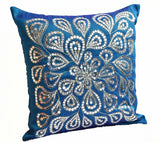Handmade blue floral throw pillow with silver sequin