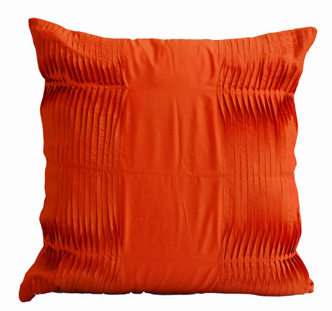 Handmade orange accent pillow with cotton silk pleating