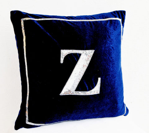 Handmade navy blue pillow with silver sequin and monogram