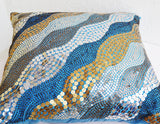 Handmade blue throw pillow with sequin