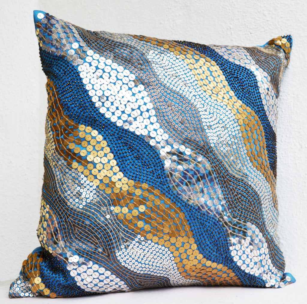 Shop For Handmade Blue Throw Pillows With Silver Copper Gold Sequin Amore Beaute