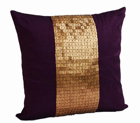 Handmade throw pillows in purple and gold with silk sequin