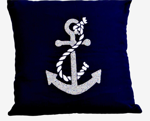 Handmade nautical themed throw pillows with embroidery