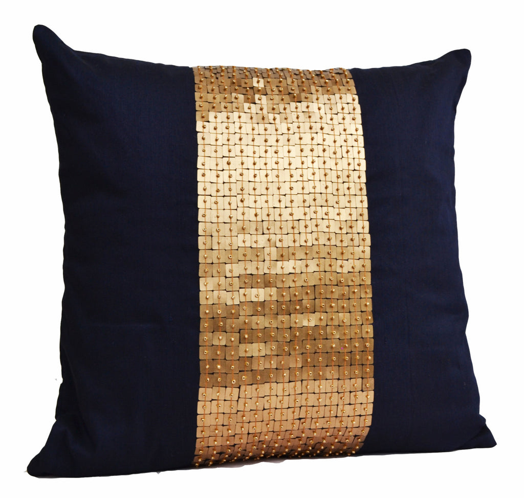 Handmade Navy Blue Throw Pillow Gold Color Block In Sequin And Beads Amore Beaute