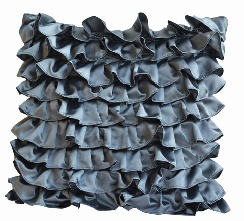 Handmade pillow cover with dark gray ruffles