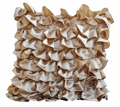 Handmade satin throw pillow cover with beige ruffles