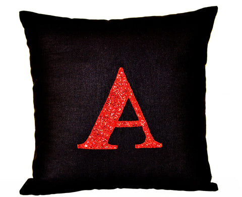 Handmade black linen pillow cover with red sequin monogram