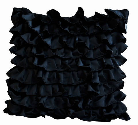 Handmade black satin pillow case with ruffles