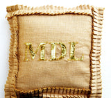 Handmade monogrammed burlap pillow with ruffles