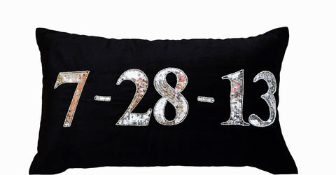 Handmade date black velvet cushion with monogram