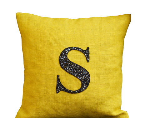 Handmade personalized monogrammed pillows in burlap