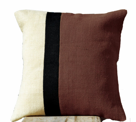 Handmade burlap taupe pillow cover with color block