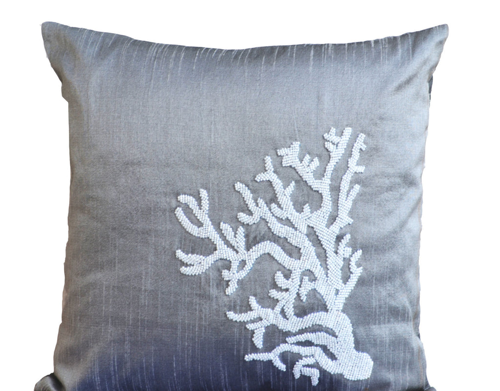 handmade nautical themed gray pillow with beads
