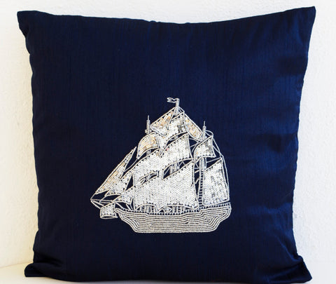 Handmade navy blue decorative throw pillows with silver sequin