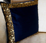 Handmade, navy blue throw pillow cover with gold sequin